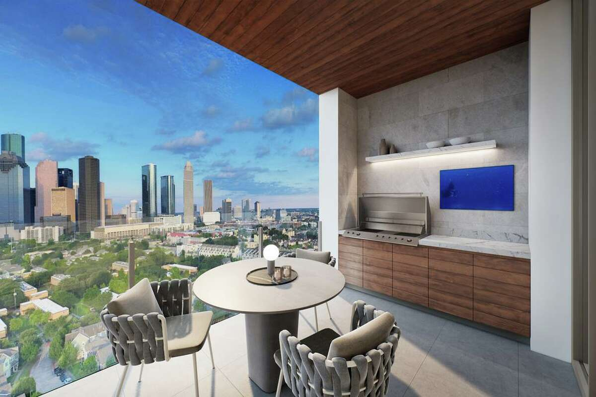 Artist rendering of the Residences at The Allen, a high rise under construction on Allen Parkway