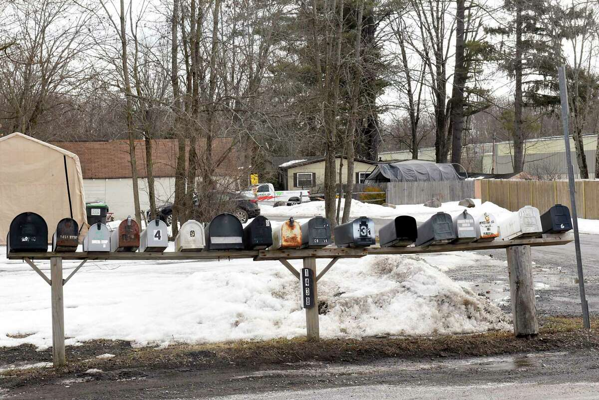 Mail boxes line Route 9P in front of Saratoga Lakeview Mobile Park on Wednesday, March 3, 2021 in Saratoga Springs, N.Y. The owner of the land has sold this property. (Lori Van Buren/Times Union)