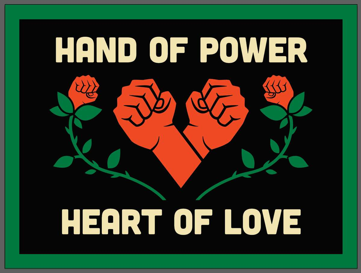 Hand of Power Heart of Love banner, 2020, applique on fabric