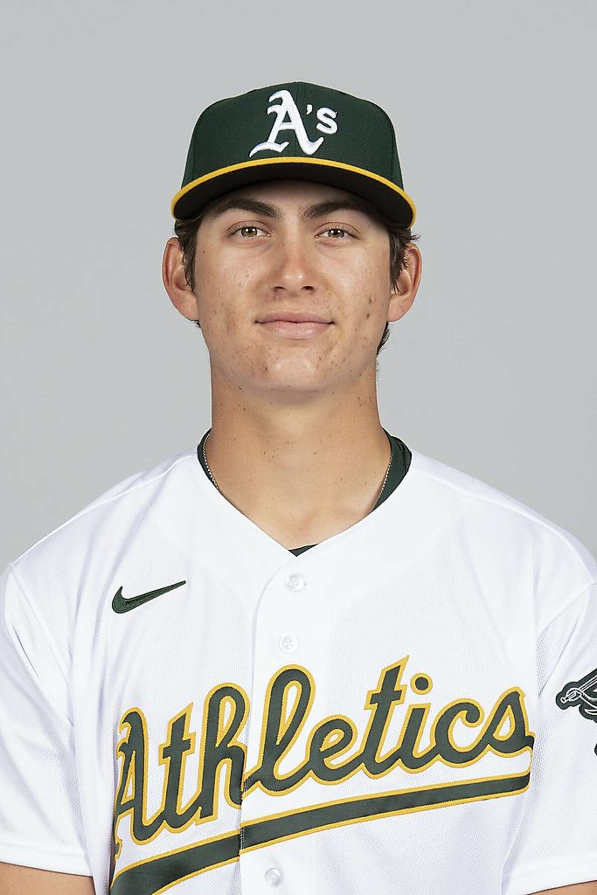 This is a 2021 photo of Tyler Soderstrom of the Oakland Athletics baseball team. This image reflects the Oakland Athletics active roster as of Friday, Feb. 26, 2021 when this image was taken. (Robert Beck/MLB Photos via AP)