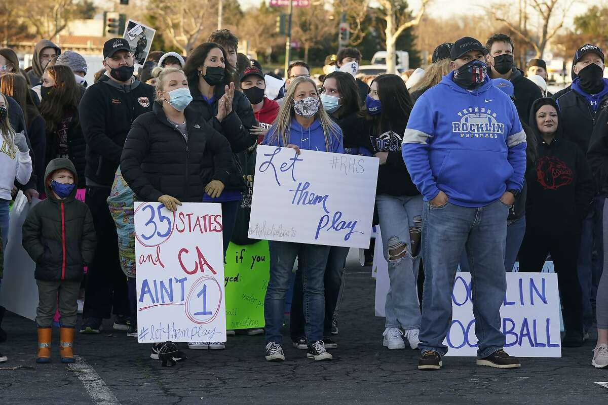 """People gather at a Jan. 29 """"Let Them Play CA"""" rally in Citrus Heights, calling for California Gov. Gavin Newsom to allow the state's school children to participate in sports."""