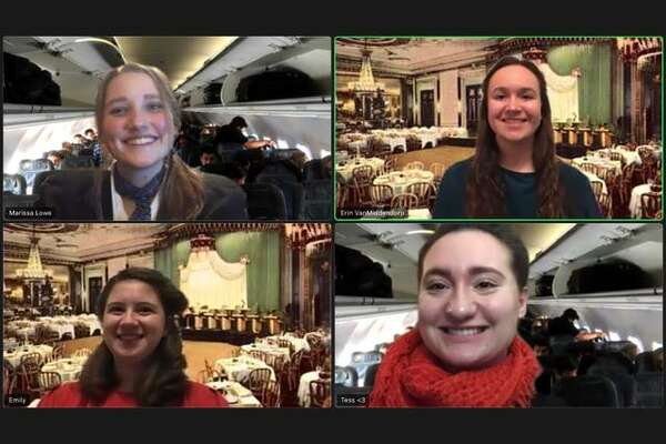 """Metro-East Lutheran High School's theatre department is offering virtual performances of """"Zoomin' Around the World in 90 Minutes: A Musical Review,"""" March 5-7. Pictured clockwise, starting in upper left, are Melissa Lowe, Erin VanMiddendorp, Emily Thoelke and Tess Rosentreter"""
