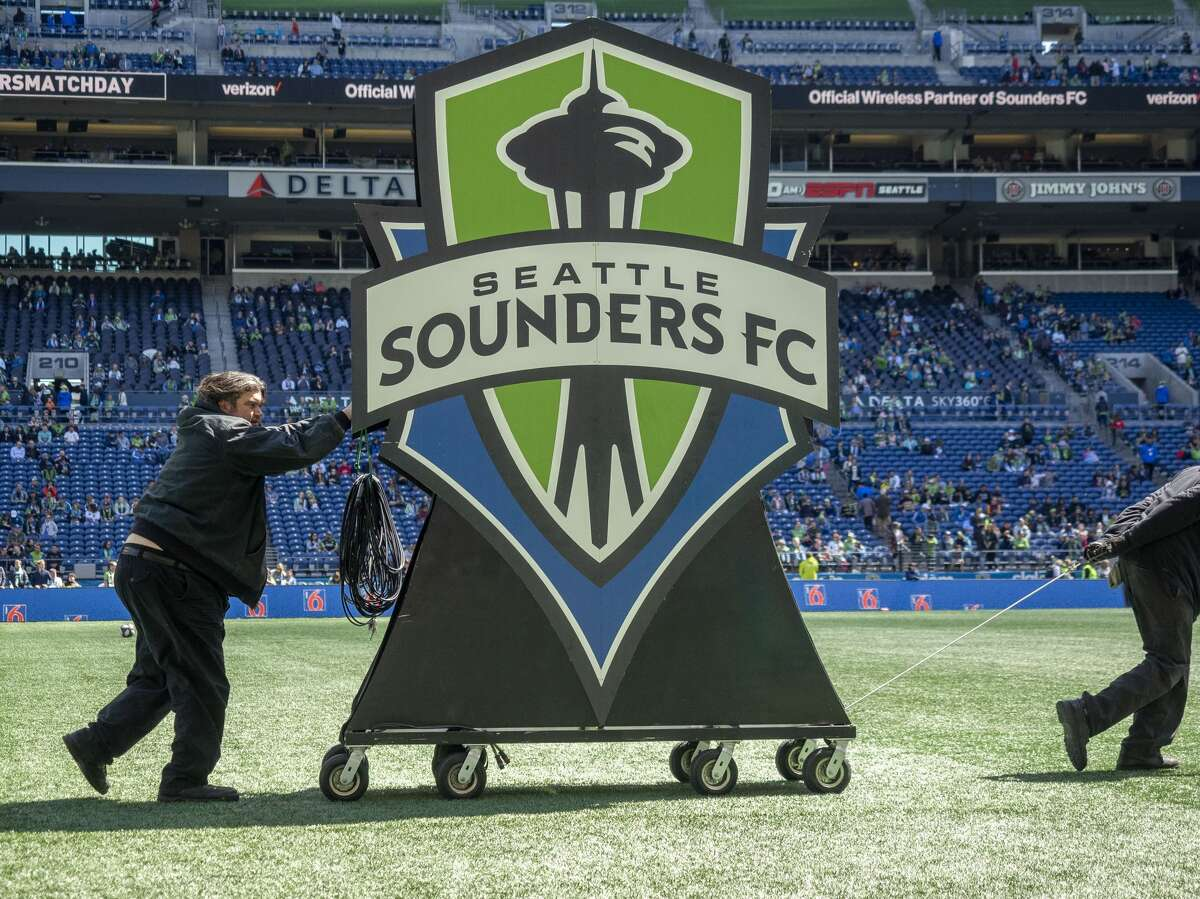 A view of the Seattle Sounders logo before the MLS regular season match between Los Angeles FC and Seattle Sounders FC on April 28, 2019, at CenturyLink Field in Seattle, WA.