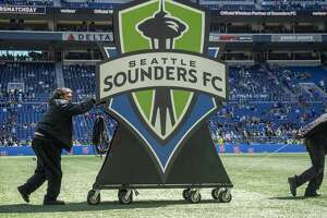SEATTLE, WA - APRIL 28: A view of the Seattle Sounders logo before the MLS regular season match between Los Angeles FC and Seattle Sounders FC on April 28, 2019, at CenturyLink Field in Seattle, WA.(Photo by Joseph Weiser/Icon Sportswire via Getty Images)