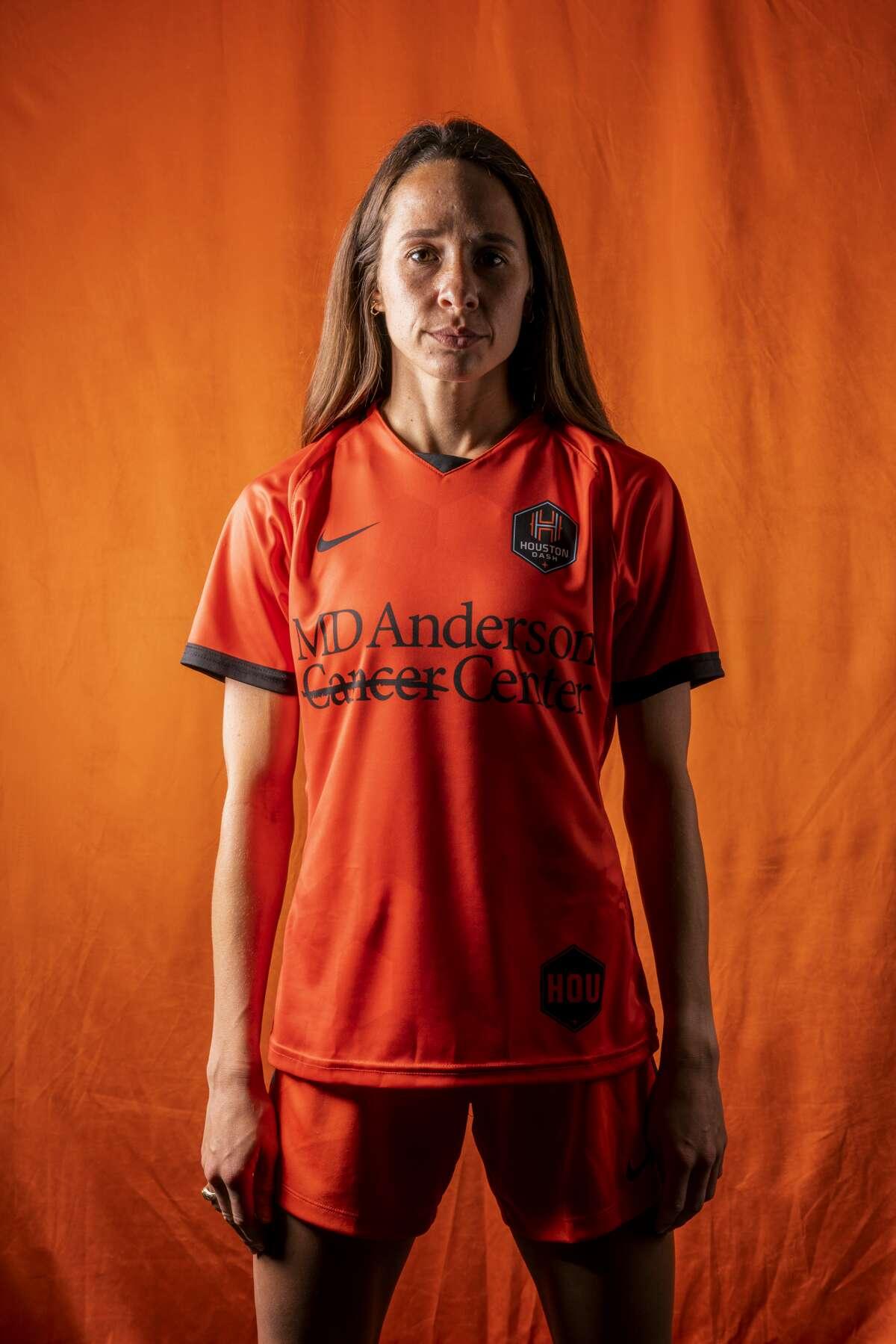 Houston Dash's Shea Groom wears the club's new uniform.