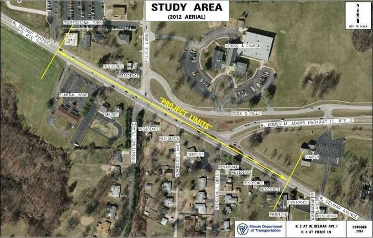 This map details the scope of construction for two roundabouts planned in Godfrey.