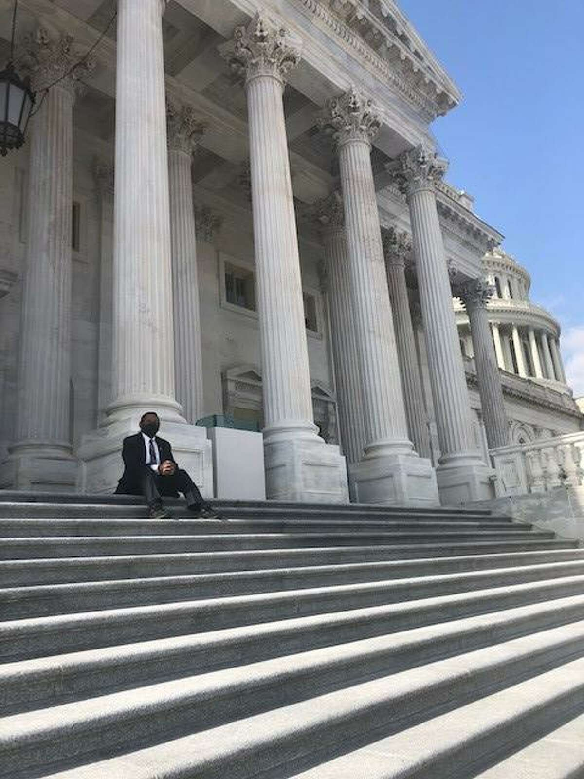 U.S. Rep. Al Green sits on the steps of the Capitol building in Washington, D.C. on Thursday, March 4, 2021.