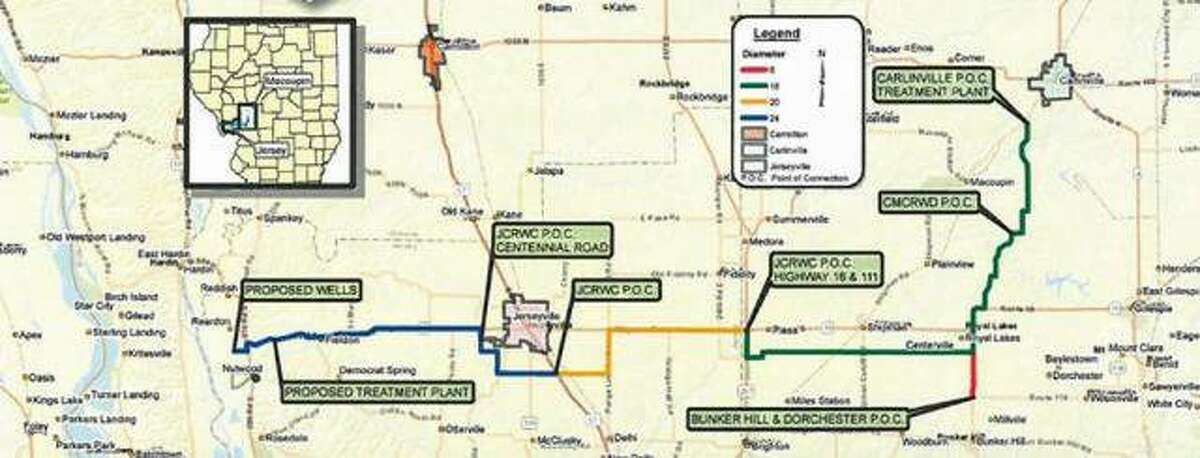 This map illustrates the planned Illinois Alluvial Regional Water Company project.