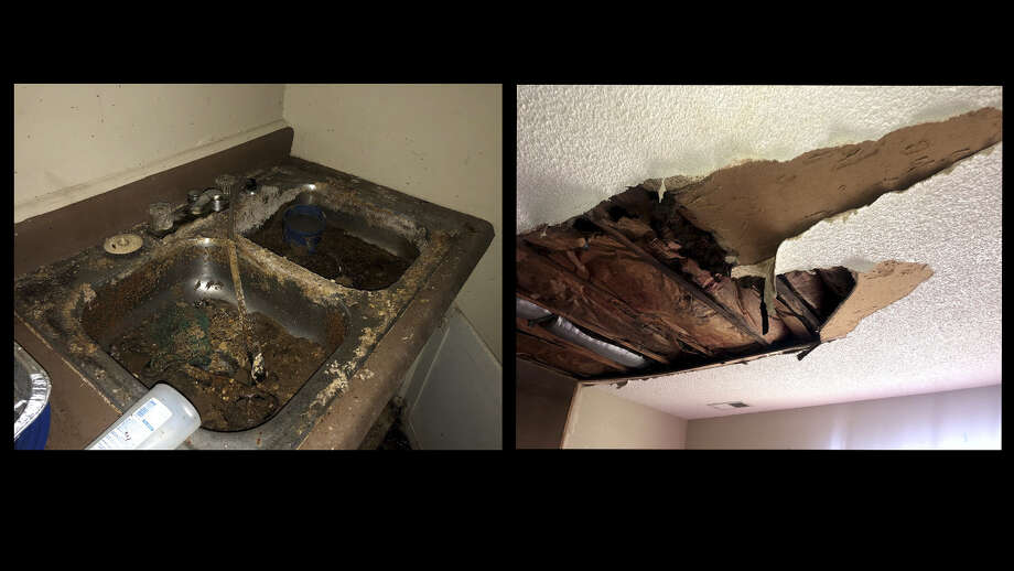 Inspectors from HUD photographed sewage in a sink and broken ceilings at Englewood Apartments in Kansas City.