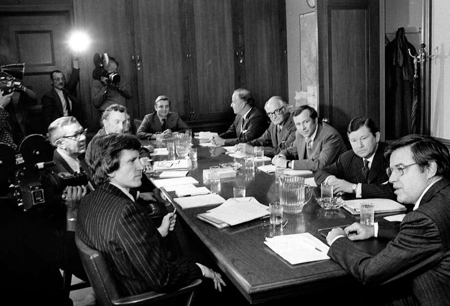 Members of the special Senate committee created to investigate the CIA, FBI and other intelligence gathering agencies meet in Washington in 1975. Photo: Henry Griffin / Associated Press 1975 / ONLINE_YES