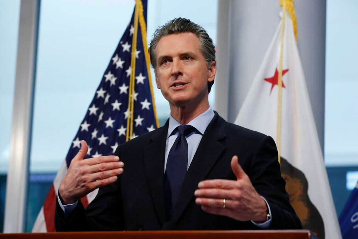 In this April 9, 2020, file photo California Gov. Gavin Newsom gives his coronavirus update at the Governor's Office of Emergency Services in Rancho Cordova, Calif.