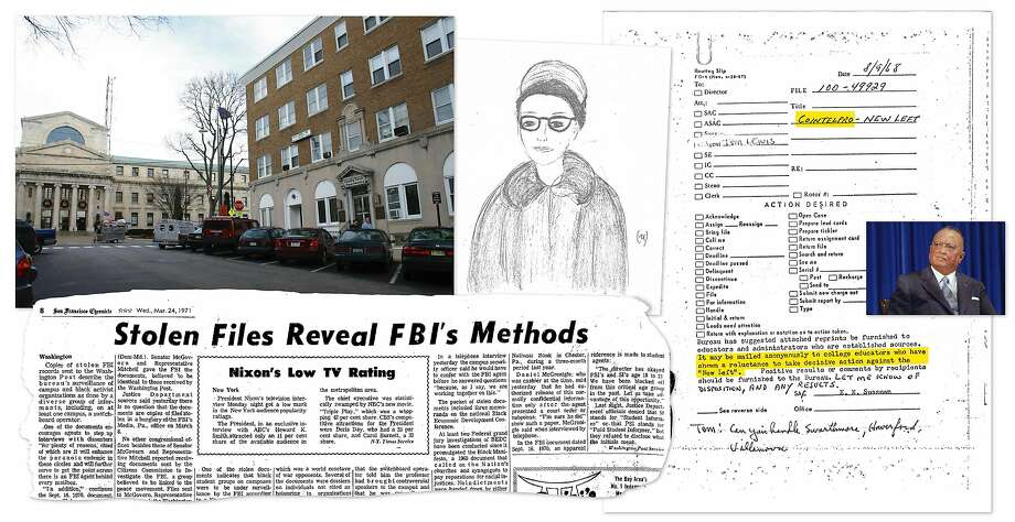 "The FBI field office in Media, Pa., was burgled by activists. A police sketch shows Bonnie Raines, posing as a college journalist to gain access. A stolen document shows the word ""Cointelpro."" The leaks were a major blow to FBI Director J. Edgar Hoover. The Chronicle published a story about the break-in. Photo: News Clip: The Chronicle Archive; Hoover: Associated Press 1971; Other: Courtesy Betty Medsger"
