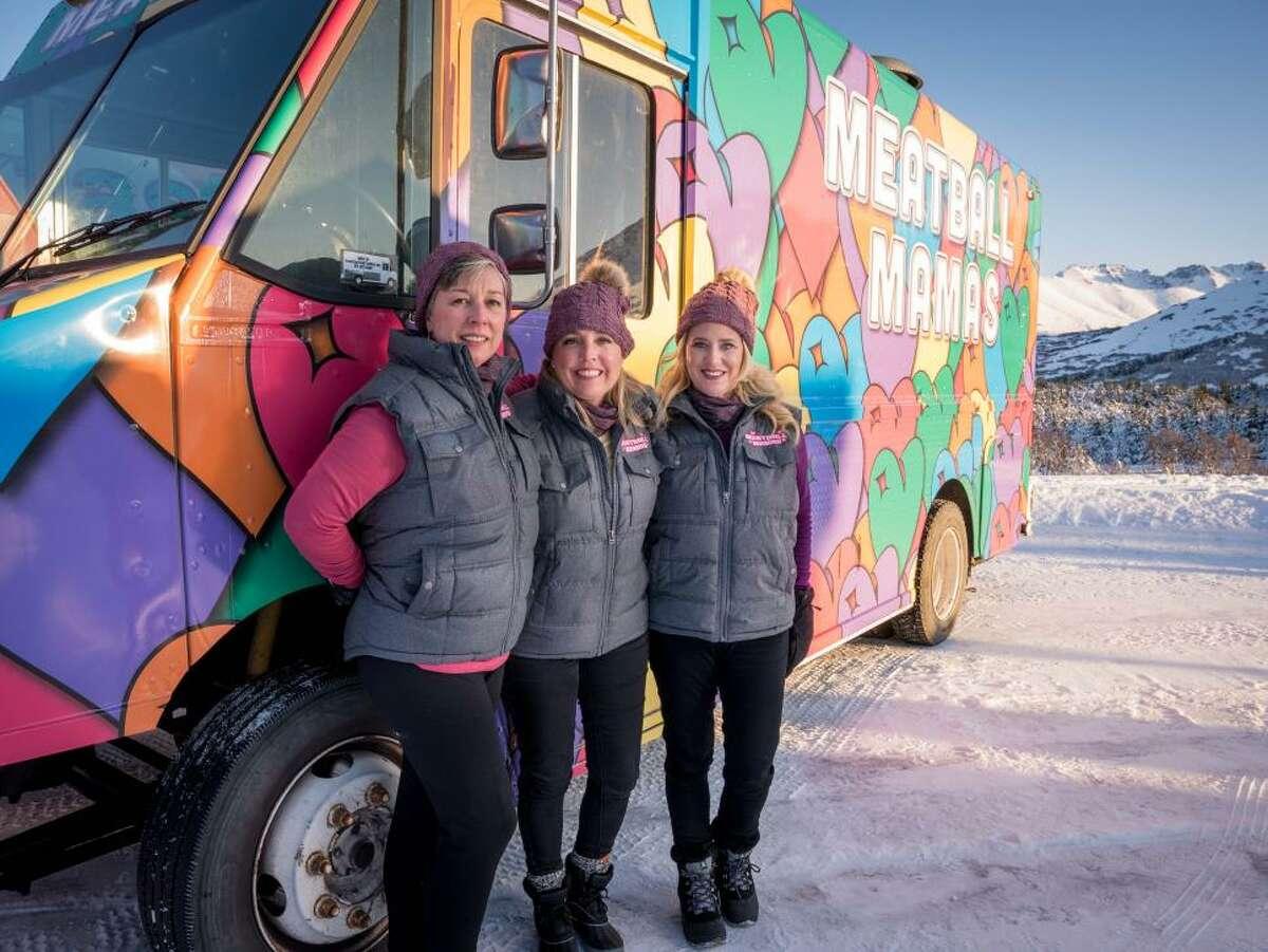 "Meatball Mamas team members Jocelyn Denson, Flora Londre and Aly Romero, as seen on Season 14 of ""The Great Food Truck Race."""