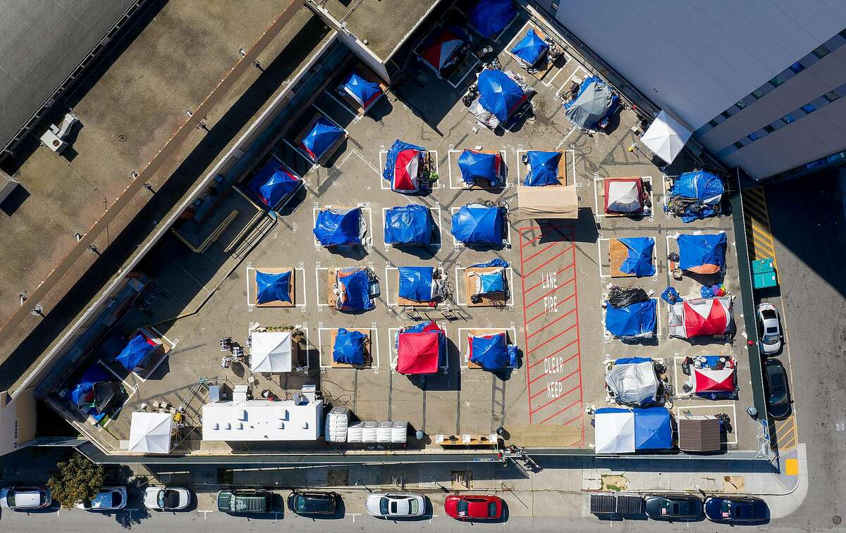 Tents line a city-sanctioned homeless encampment on Gough Street in March.