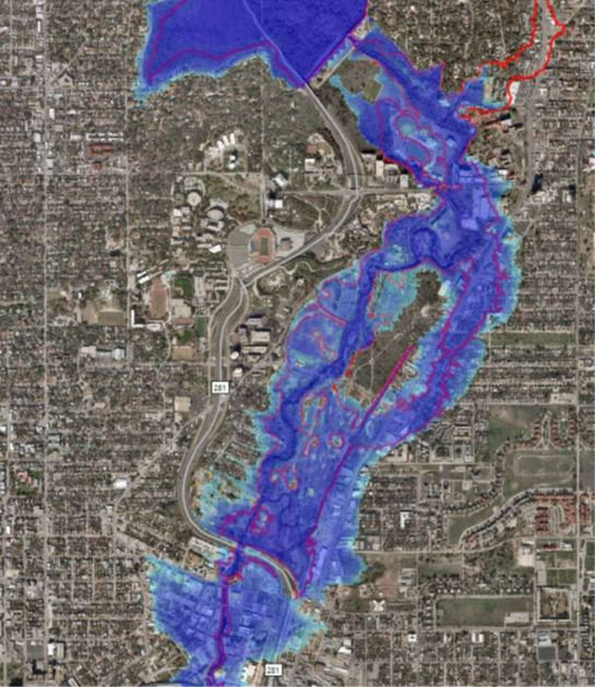 Screenshots of flooding simulations show how some of San Antonio's creeks and rivers would rise if the city were hit by a Hurricane Harvey-level storm. Contractors for the San Antonio River Authority produced the images.