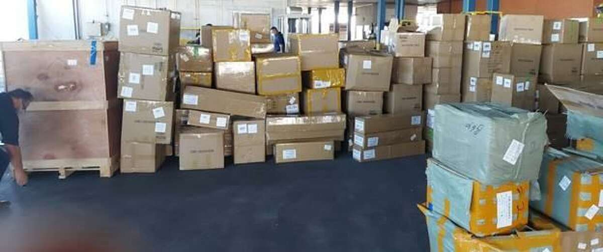 Federal authorities said they seized about $14.7 million in counterfeit merchandise at the World Trade Bridge.