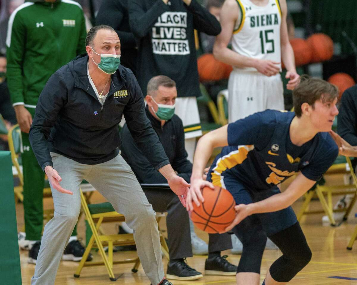 Siena College head coach Carm Marciariello during a Metro Atlantic Athletic Conference game against Canisius College at the UHY Center on the Siena College campus in Loudonville, NY, on Thursday, March 4, 2021 (Jim Franco/special to the Times Union.)