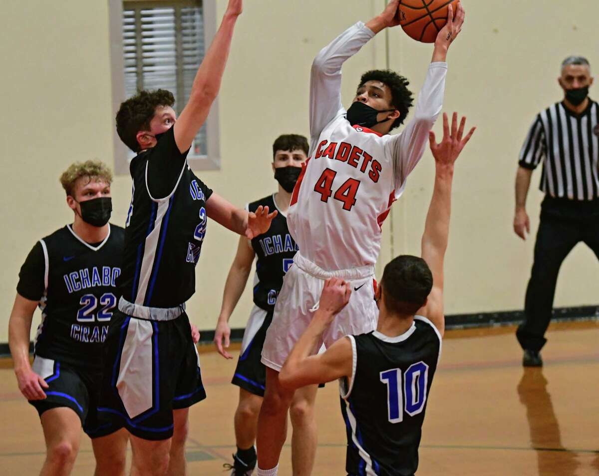 Albany Academy's Marcus Jackson (44) was named Athlete of the Year on the Times Union Large-School Boys' Basketball all-star team.(Lori Van Buren/Times Union)
