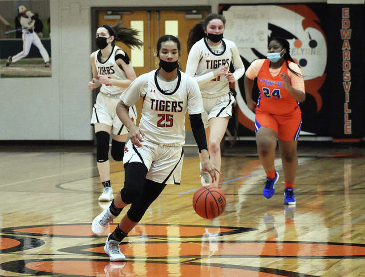 Edwardsville junior guard Sydney Harris dribbles the ball up the court during the second half of Thursday's game against East St. Louis.