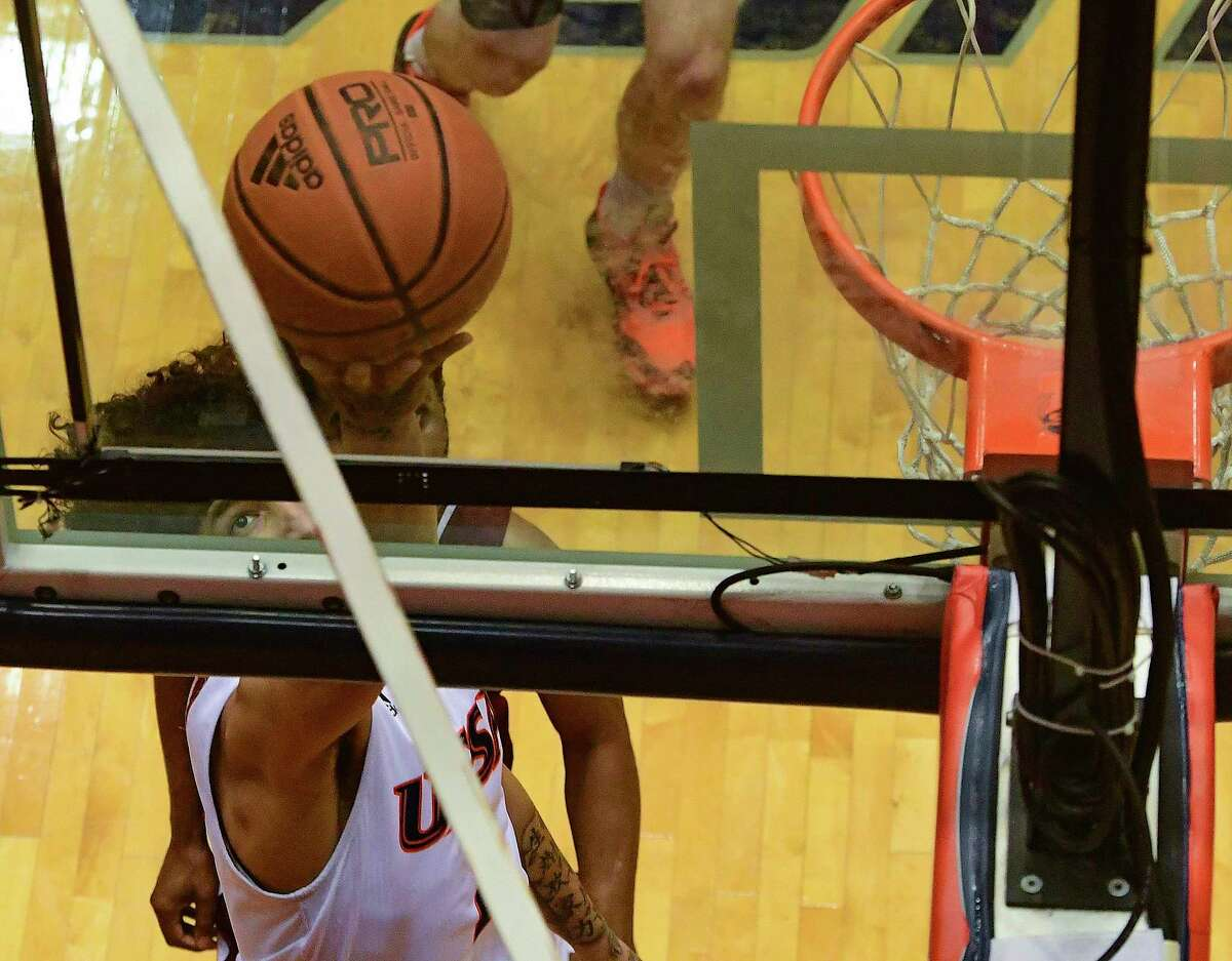 Jhivvan Jackson of UTSA shoots and scores on a layup against Southwestern Adventist during college basketball action at the UTSA Convocation Center on Thursday, March 4, 2021. UTSA won, 123-43.