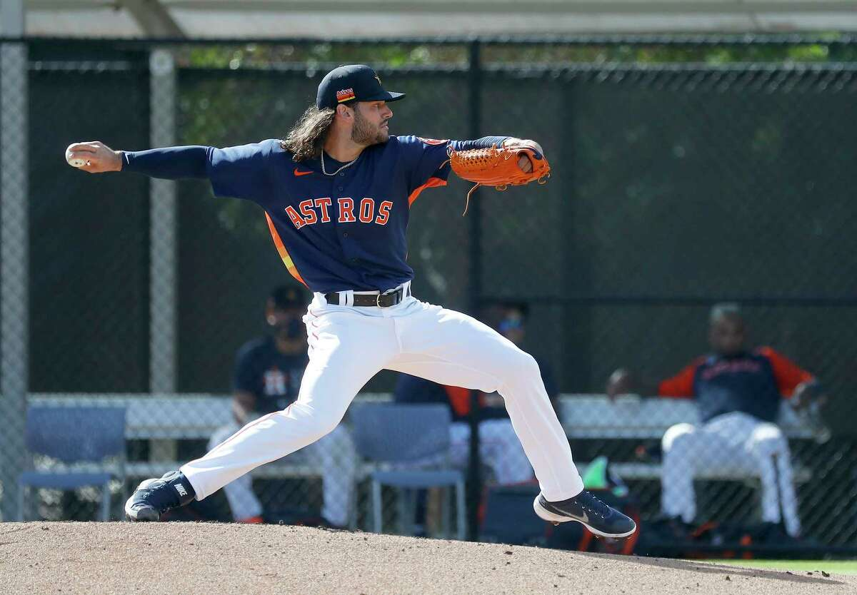 Houston Astros pitcher Lance McCullers Jr. (43) pitches a live BP session during spring training workouts for the Astros at Ballpark of the Palm Beaches in West Palm Beach, Florida, Saturday, February 27, 2021.