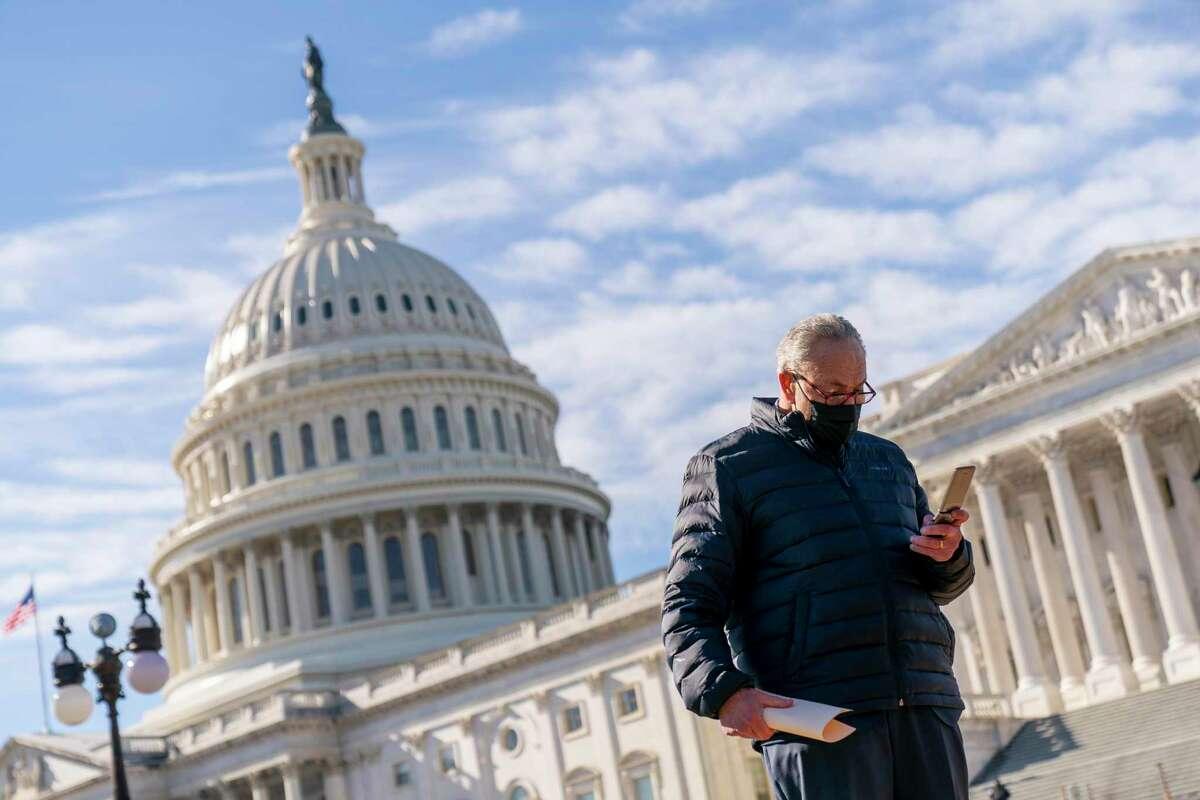 Senate Majority Leader Sen. Chuck Schumer on Capitol Hill in Washington.