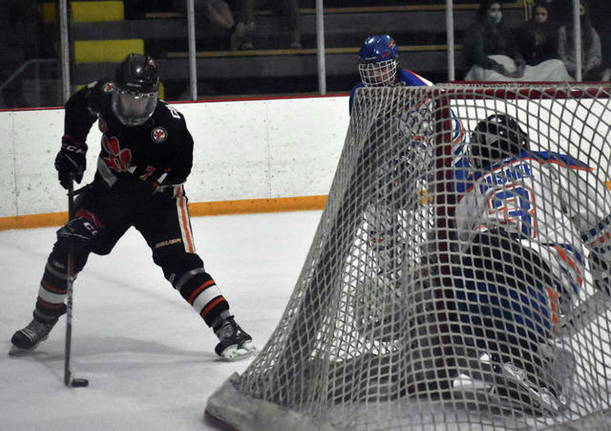 Edwardsville forward Cameron Gillen looks to make a move near the goal during the first period against Freeburg-Waterloo on Thursday.