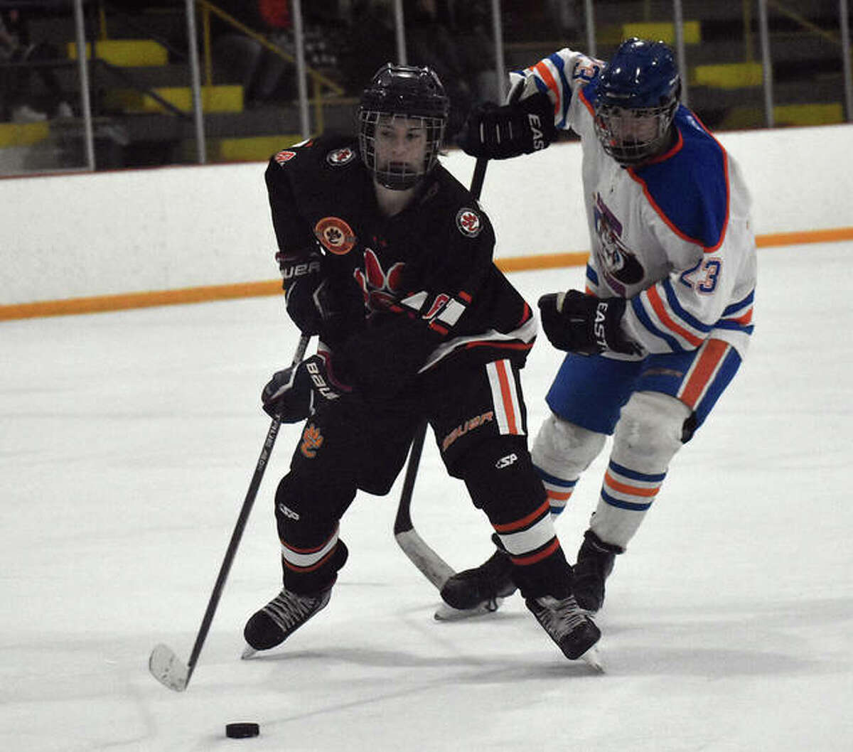 Edwardsville forward Fred Bramstedt takes control of the puck during the second period against Freeburg-Waterloo on Thursday.