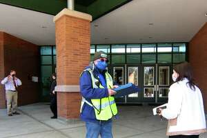 A vaccine clinic for Monroe school staff was held at Masuk High School in Monroe on Wednesday.