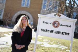 Greenwich Superintendent of Schools Toni Jones poses at the Board of Education in Greenwich, Conn. Thursday, Feb. 25, 2021.