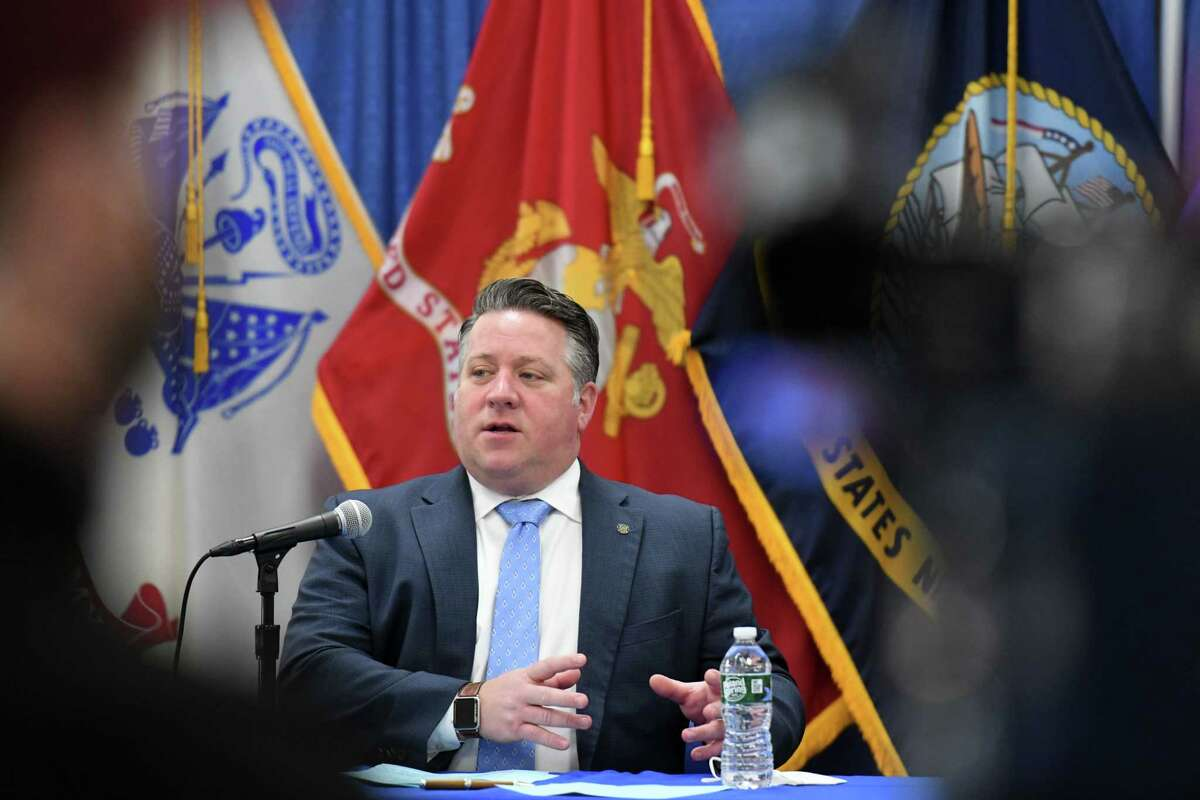 """Albany County Executive Dan McCoy told reporters Monday that he recently received a call from Larry Schwartz, the coordinator of the Cuomoadministration's response to the coronavirus, and """"briefly"""" discussed the governor's current political plight. (Will Waldron/Times Union)"""