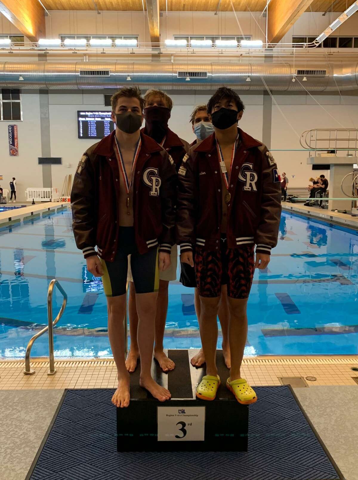 The Cinco Ranch boys 200-yard freestyle relay team won the bronze medal at the Region V-6A championships Feb. 6 at the Cy-Fair ISD Natatorium.