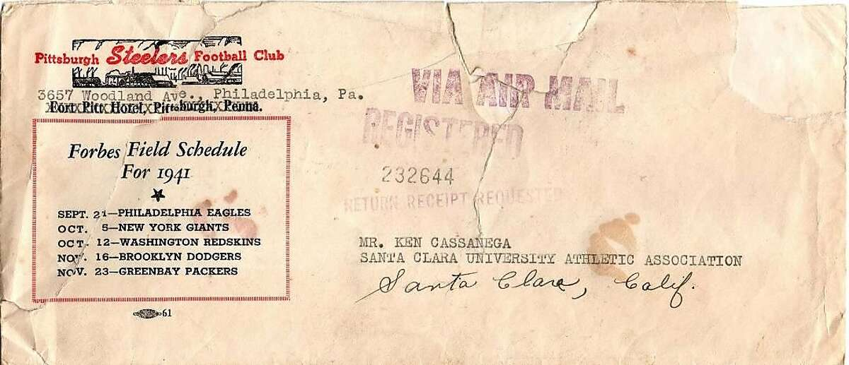 The envelope containing the letter Ken Casanega received from the Steelers informing him he'd been selected in the third round, No. 16, overall, in the 1942 NFL draft.