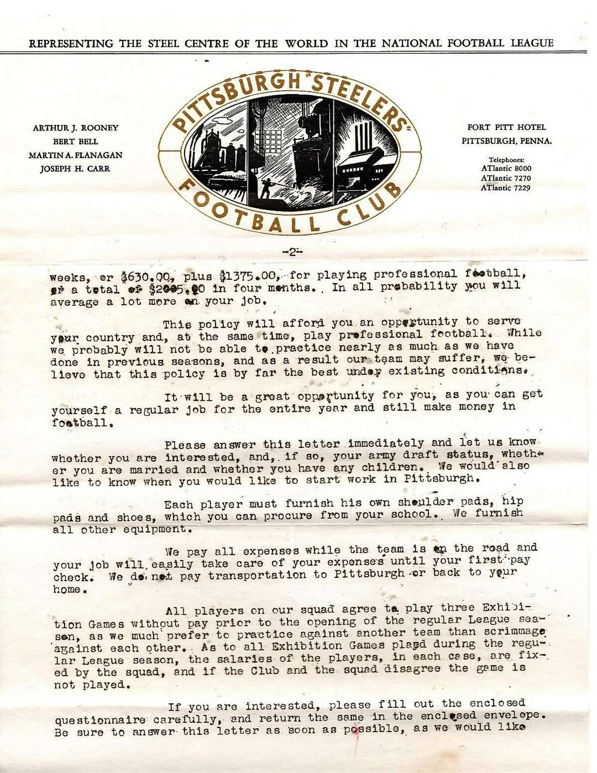 The second page of the letter Ken Casanega received from the Steelers informing him they'd selected him in the 1942 NFL draft.