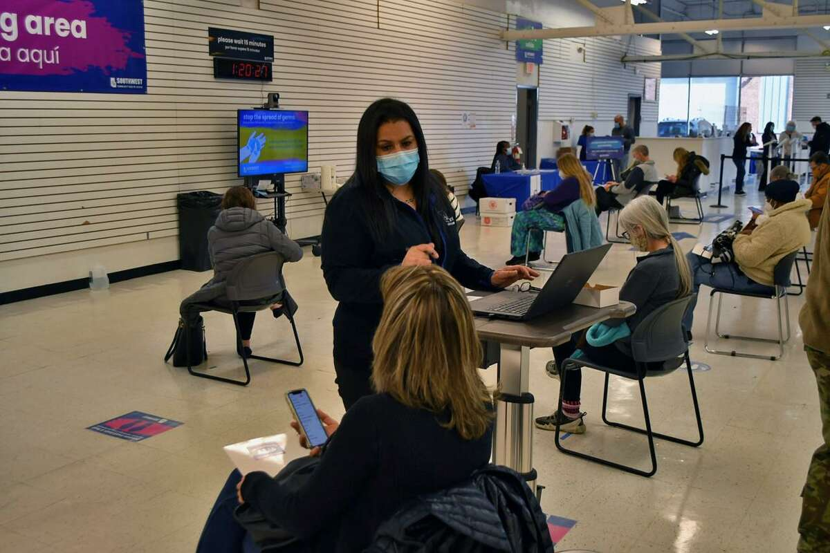 A COVID-19 vaccination clinic at Southwest Community Health Center in Bridgeport administered close to 900 doses of the Moderna vaccine March 4, 2021.