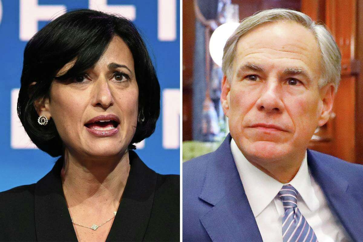CDC Director Dr. Rochelle Walensky and Texas Gov. Greg Abbott are pictured together in this composite image.