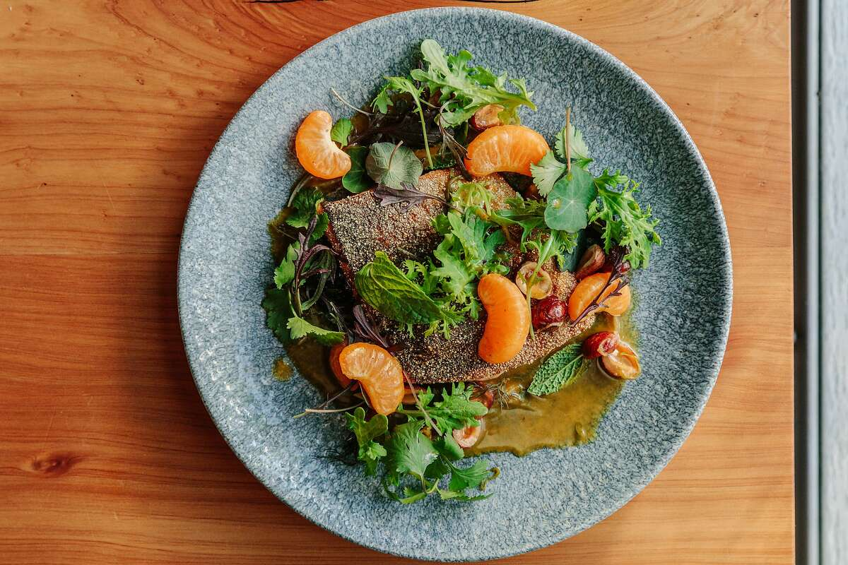 Red trout with toasted hazelnut and mandarin-garum vinaigrette at State Bird Provisions. The San Francisco restaurant has consistently received chargeback requests on used gift cards over the years.