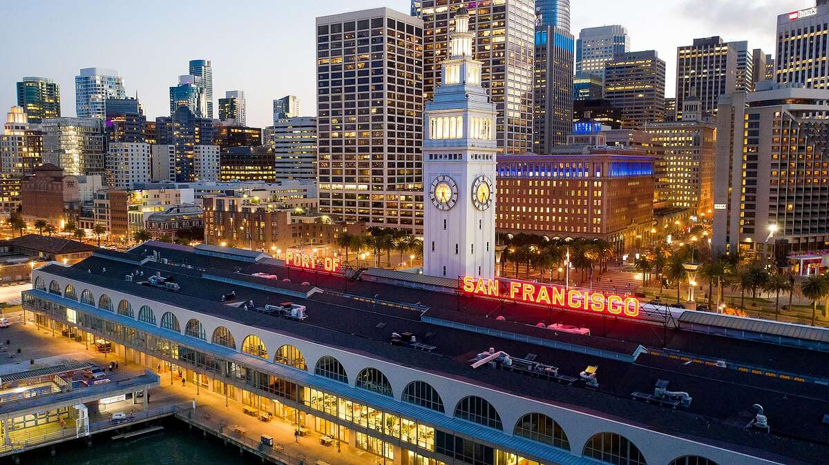 The clock tower rises above the Ferry Building.