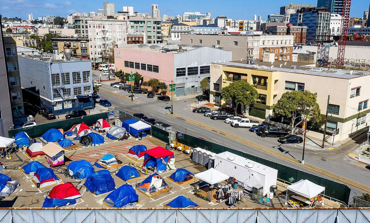A sanctioned homeless encampment on Gough Street in San Francisco this week.