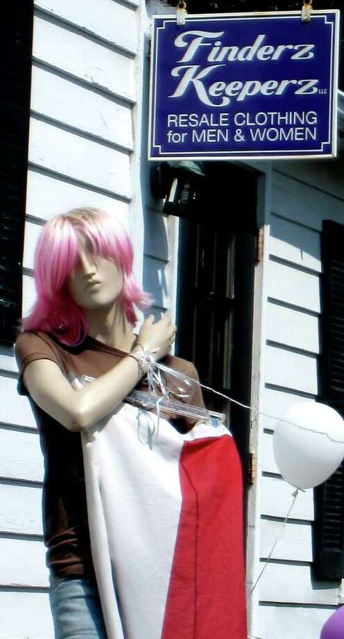 """SPECTRUM/A mannequin nicknamed """"Lucky"""" greets patrongs at Finderz Keeperz along Route 7 South in New Milford. Sept. 2, 2010 Photo: Norm Cummings / The News-Times"""