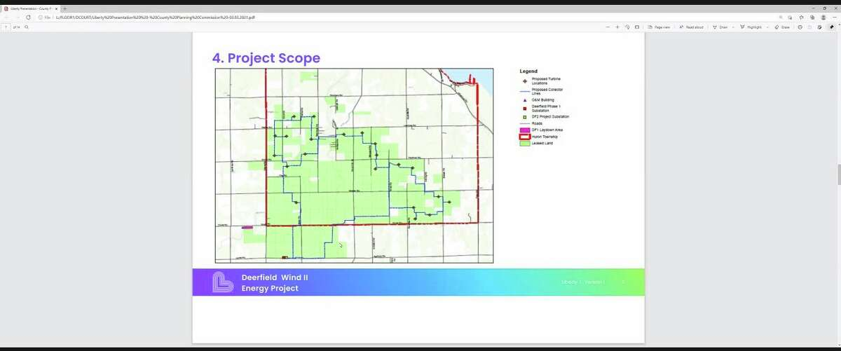 The Deerfield Wind Energy 2 project scope. (Robert Creenan/Huron Daily Tribune)