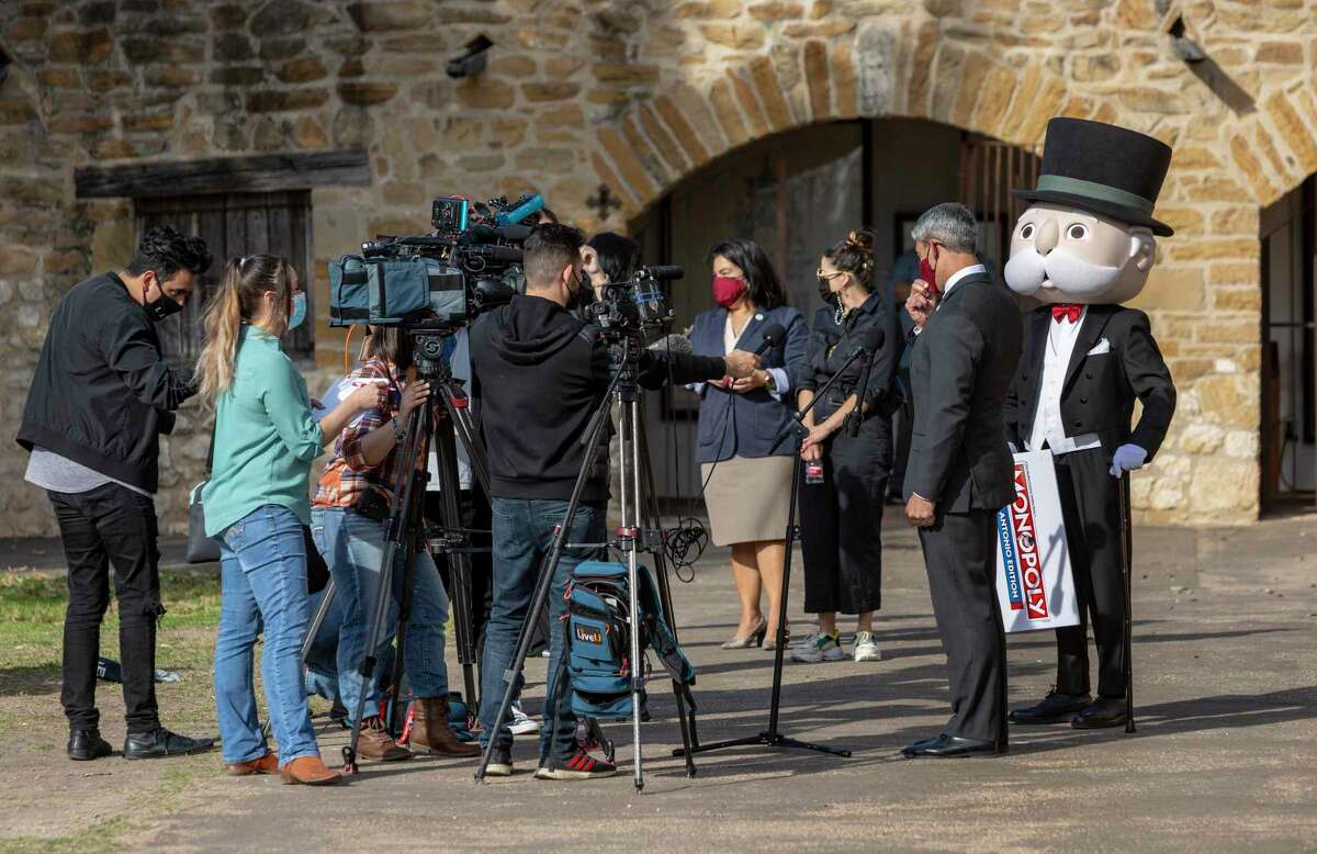 City Councilwoman Rebecca Viagran, Mayor Ron Nirenberg and others listen during a news conference Thurday, Feb. 4, 2021, also attended by Uncle Pennybags, aka the Monopoly Man, at Mission San José. At the news conference, Tops Trump announced it's producing the Hasbro-approved San Antonio version of the official Monopoly game, only the second city in the United States to receive that recognition by the official game that dates back to 1935.