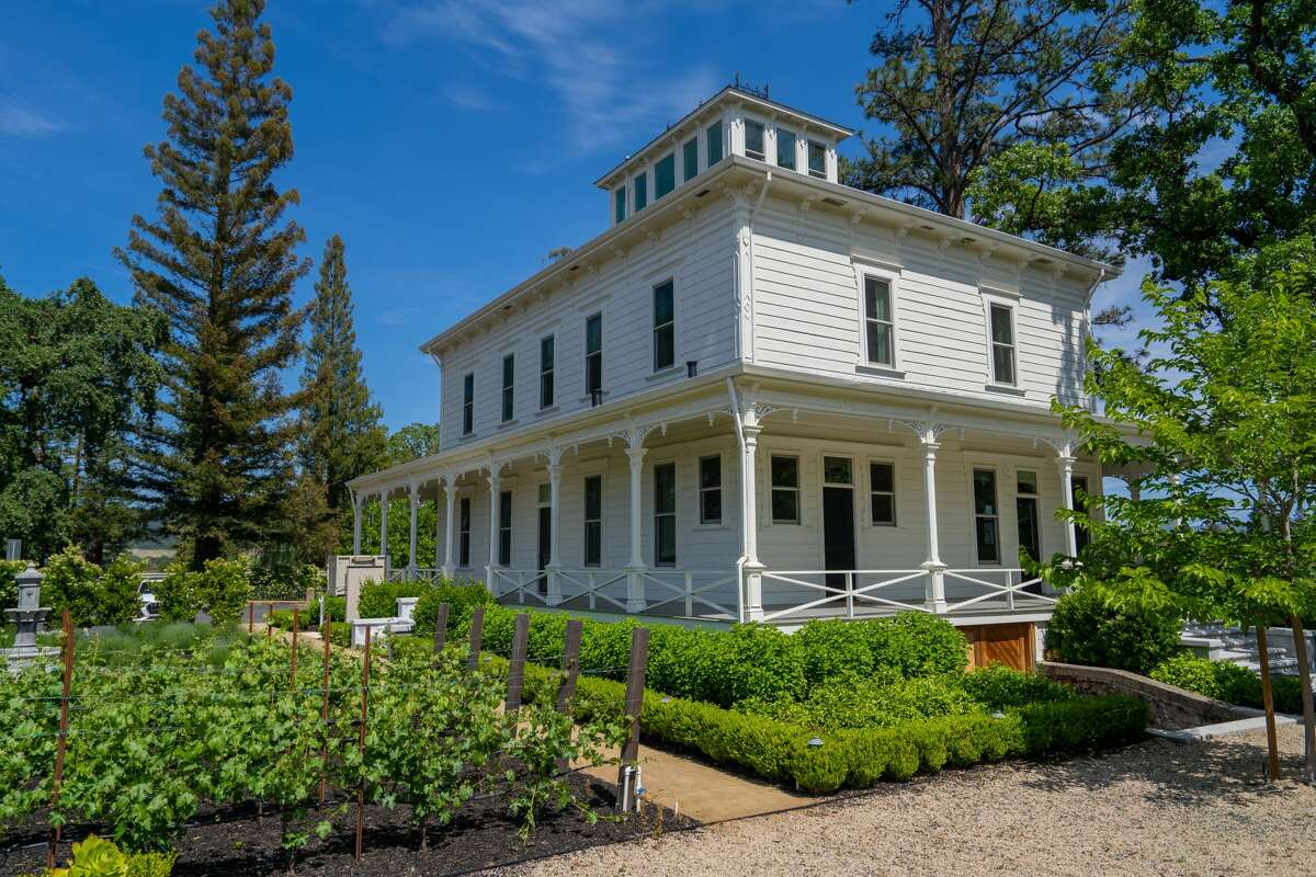 1575 St Helena Highway is a 4,660 square foot historic abode with wrap around porch overlooking its landscaped 1.23 acres.