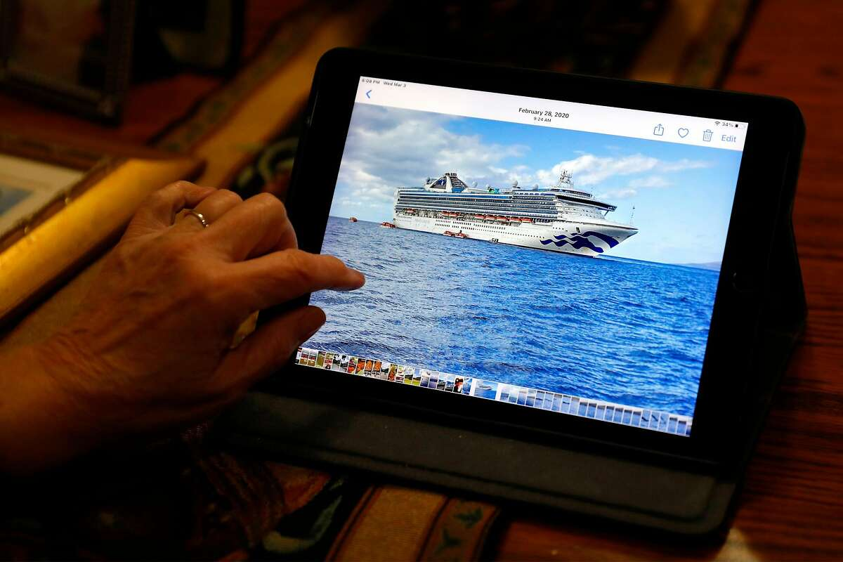 Gina Pallotta looks at a photo of the Grand Princess from February 2020 on an iPad at her home in Modesto.