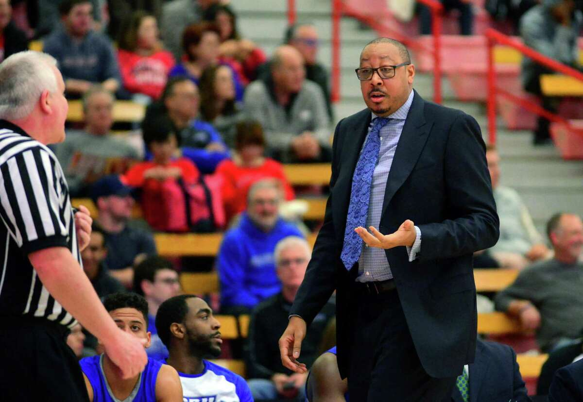 Central Connecticut Head Coach Donyell Marshall during men's college basketball action against Sacred Heart University in Fairfield, Conn. on Saturday Feb. 11, 2017.