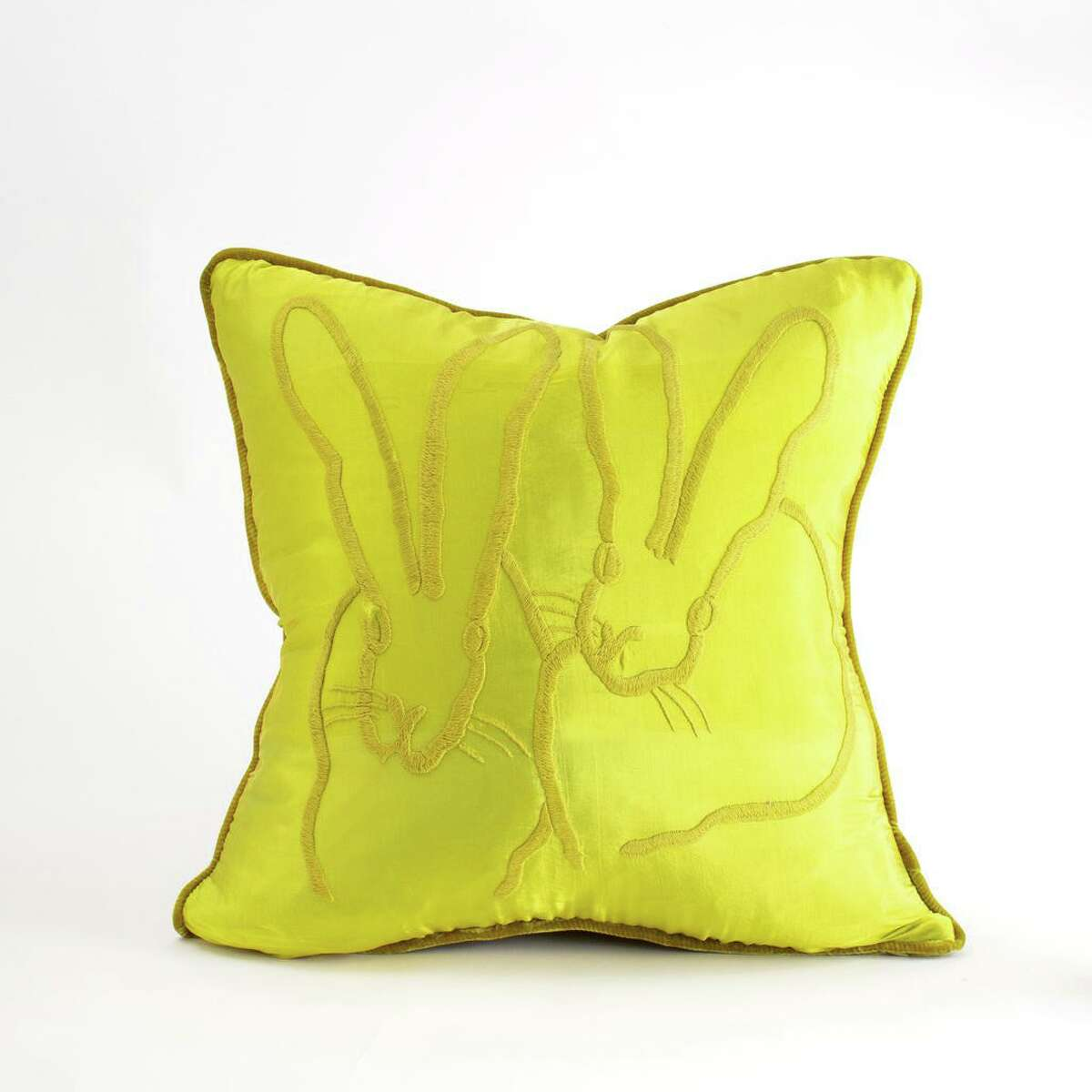Slonem's hand-embroidered pillows with silk fronts and velvet backs come in several colors and in three sizes: 18x18 ($460), 20x20 ($475) and 22x22 ($495).