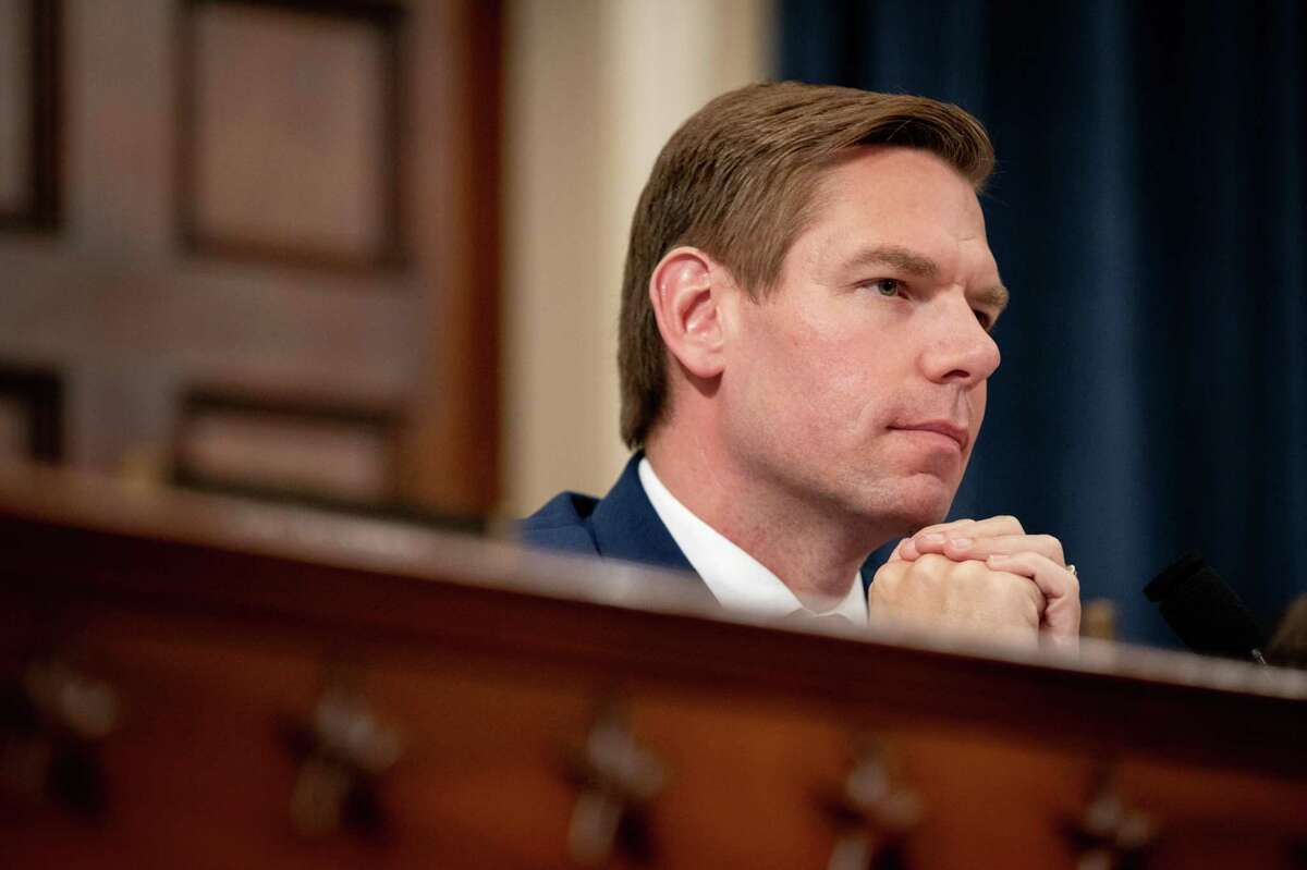 Rep. Eric Swalwell listens in during the House Intelligence Committee's public hearing regarding the relationship between President Donald Trump and Ukraine at the US Capitol in Washington, D.C. on Thursday, November 21, 2019.
