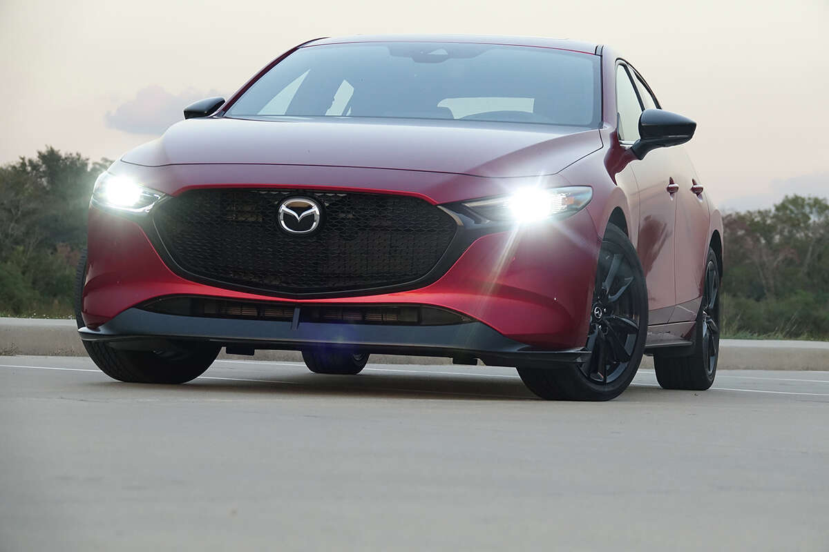 Adaptive LED headlamps and daytime running lights are standard on all Mazda 3 turbo hatchbacks.