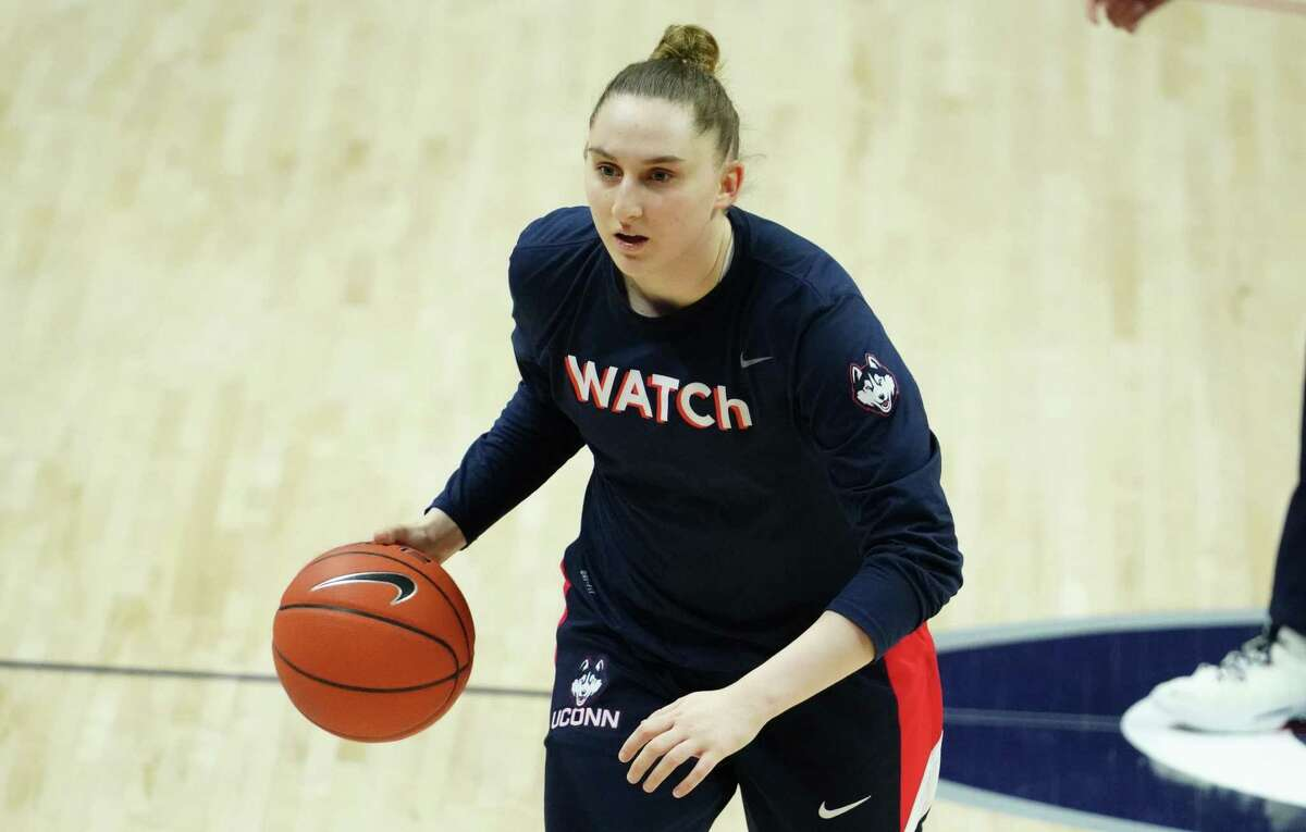 Mar 1, 2021; Storrs, Connecticut, USA; UConn Huskies guard Anna Makurat (24) warms up before a game against the Marquette Golden Eagles at Harry A. Gampel Pavilion. Mandatory Credit: David Butler II-USA TODAY Sports