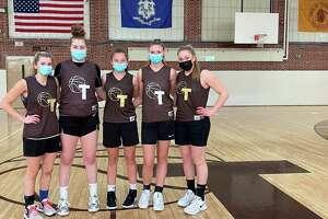 The Thomaston girls basketball team is 9-0 and won the Berkshire League regular-season championship. From left to right: Aurelia Barker, Sydnee Eggleton, Nicole Decker, Emma Kahn, Emma Sanson. March 2021